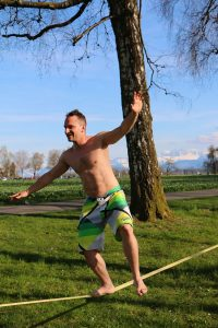 Man Using a Slackline